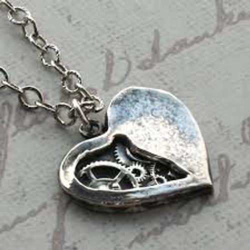Tick Tock Clockwork Heart  Steampunk Necklace Watch Gears