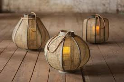 Set of 3 Jute Lantern - several shapes available