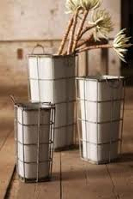 TAPERED SQUARE ZINC CONTAINERS WITH WIRE FRAMES, set of 3