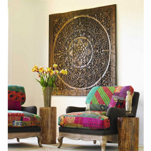 """Huge Teak Lotus Wall Panel 60"""", other sizes available"""