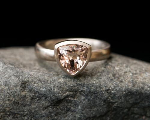Morganite Engagement Ring - 18k White Gold Morganite Ring
