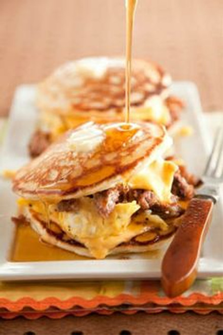 Sausage Egg Pancake Sandwich - (Free Recipe below)