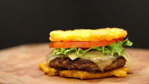 Toston Cheeseburger with Cilantro Sauce - (Free Recipe below)