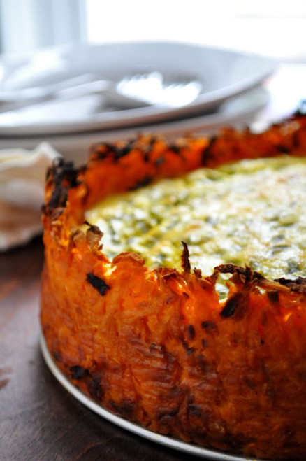Goat Cheese Quiche with Sweet Potato Crust - (Free Recipe below)