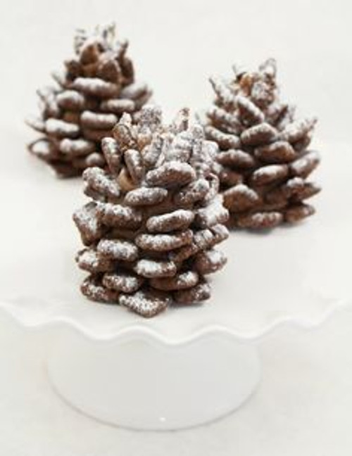 Snowy Chocolate Nutella Pinecone Tree Cookies - One dozen w/ recipe below