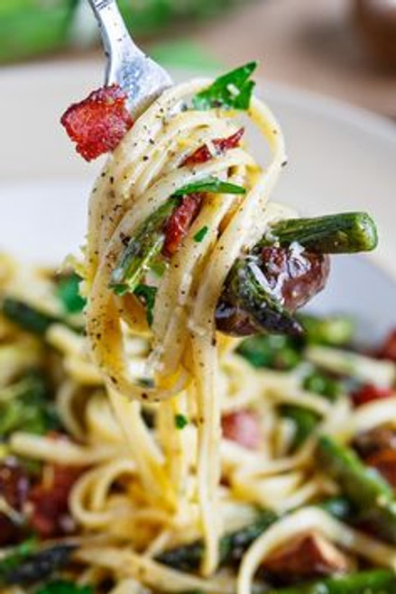Roasted Asparagus and Mushroom Carbonara - (Free Recipe below)