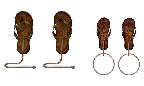 Flip Flops Wall Hooks - Set of 4