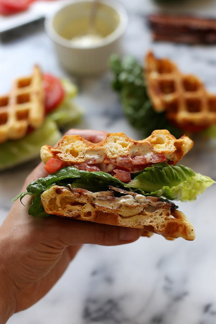 Buttermilk Cheddar Waffle BLT Sandwich - (Free Recipe below)