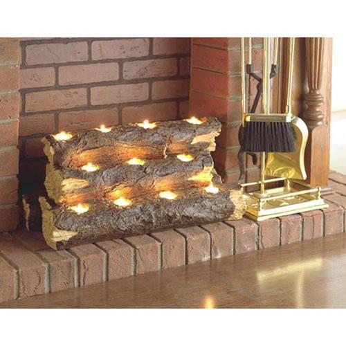 Burning Log Fireplace Candelabra