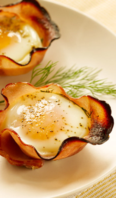 Eggs in Maple Ham Cups - (Free Recipe below)