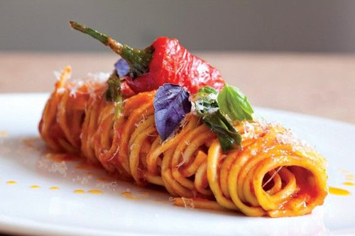Roasted Red Pepper Spaghetti with Goat Cheese - (Free Recipe below)