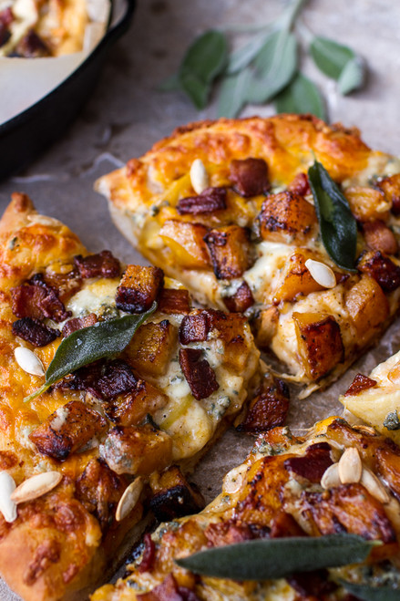 Fall Harvest Pizza w/Roasted Butternut, Cider Caramelized Onions + Bacon - (Free Recipe below)
