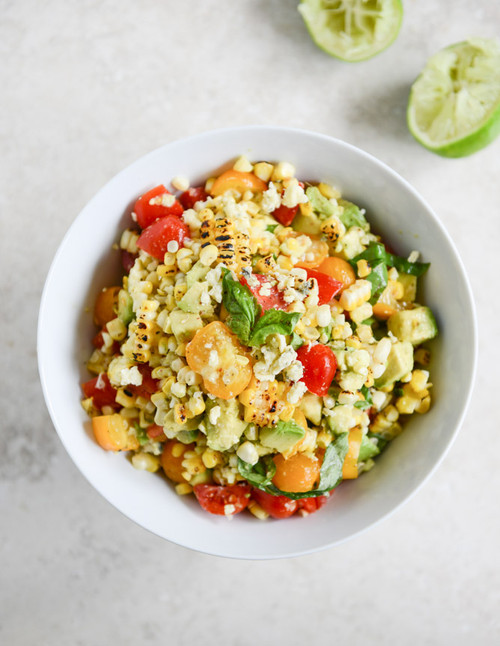 Grilled Corn Tomato Salad with Goat Cheese and Basil Ribbons - (Free Recipe below)