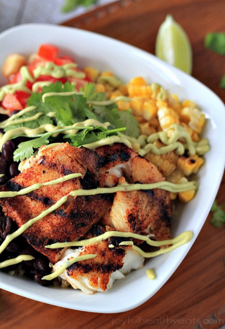 Grilled Tilapia Bowls with Chipotle Avocado Crema (GF) - (Free Recipe below)