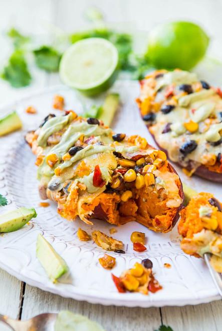 Corn Stuffed Sweet Potatoes, Cheese, Black Beans with Avocado Crema - (Free Recipe below)