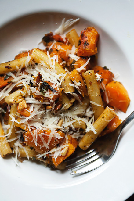 HARVEST PASTA WITH BUTTERNUT SQUASH, SAGE, AND PINE NUTS - (Free Recipe below)