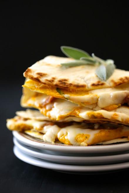 Cheesy Pumpkin Quesadilla with Fresh Sage & Chicken Sausage - (Free Recipe below)