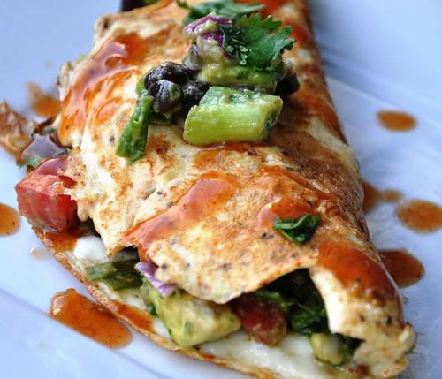 Avocado and Black Bean Omelette - (Free Recipe below)
