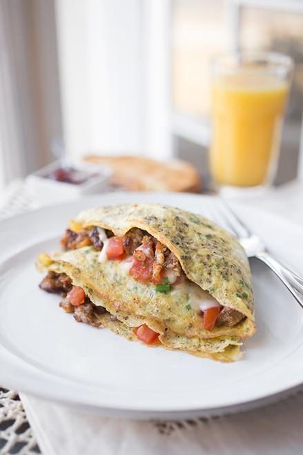 Cheesy Egg Crepes w/ Pancetta, Sausage, Gruyere, Diced Tomato & Chives - (Free Recipe below)