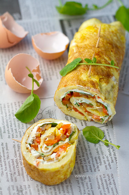 Omelette Roulade w/ Smoky Fried Potatoes, Cream Cheese, Bell Pepper & Watercress -(Free Recipe below)