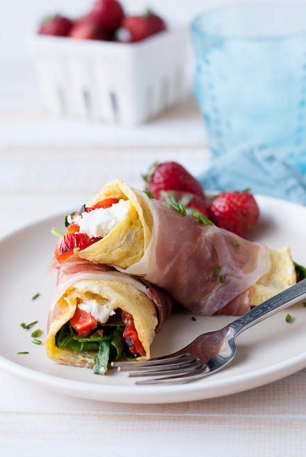 Prosciutto Wrapped Omelets w/ Spinach, Roasted Red Pepper & Goat Cheese - (Free Recipe below)