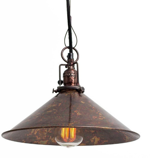 Cone Shaped Pendant Lamp with Antique Rustic Finish