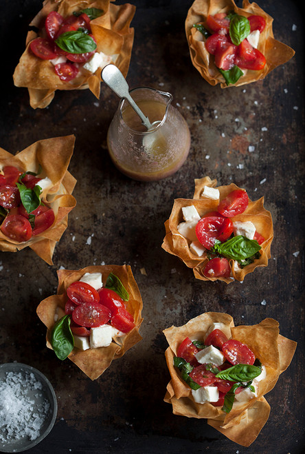 Caprese Salad in  Baskets w/ Olive Tapenade Vinaigrette - (Free Recipe below)