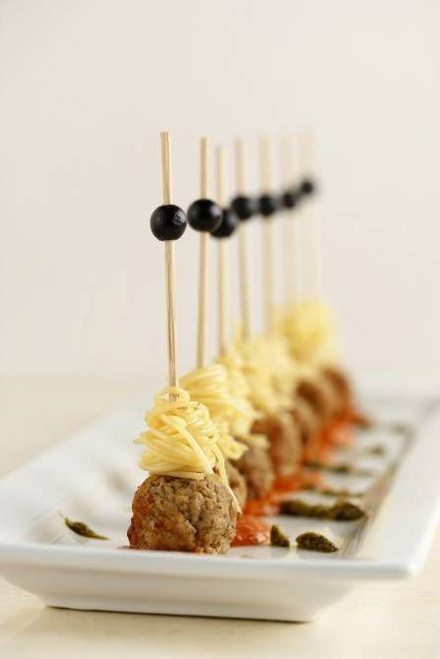 SKEWERED SPAGHETTI AND MEATBALLS - (Free Recipe below)