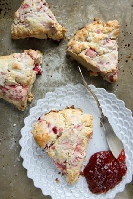 Strawberry Rhubarb Scones - One Dozen w/ recipe below
