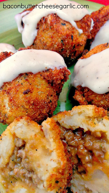 STUFFED MASHED POTATO BALLS - (Free Recipe below)