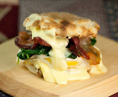 Egg Sandwich with Spinach, Brie and Maple Bacon - (Free Recipe below)