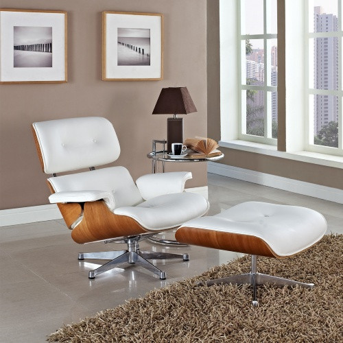 Eaze Leather Lounge Chair - White Natural