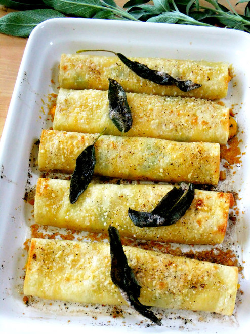 Butternut Squash Cannelloni w/Ricotta, Kale & Lemon Sage Brown Butter Sauce - (Free Recipe below)