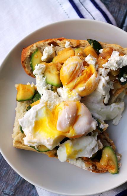 Zucchini and Goat Cheese Breakfast Crostini - (Free Recipe below)