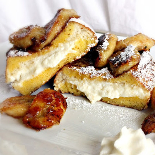 Ricotta Stuffed French Toast with Caramelized Bananas - (Free Recipe below)