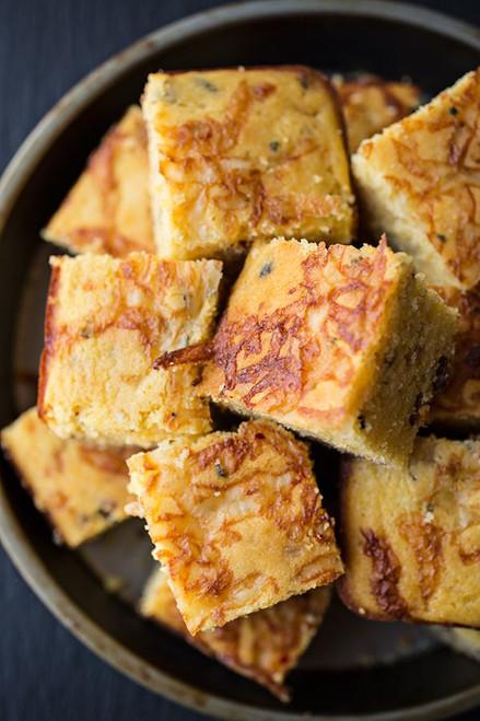 Cornbread w/ Crispy Bacon, Caramelized Onions & Jalapeno Jack Cheese - (Free Recipe below)