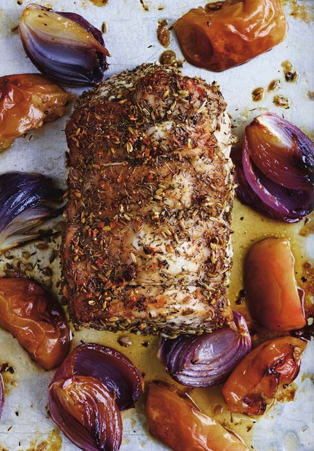 Roast Pork Loin with Apples and Onions - (Free Recipe below)