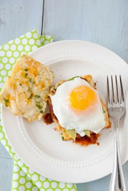Jalapeño Cheddar Biscuits with Salsa, Avocado & Eggs - (Free Recipe below)