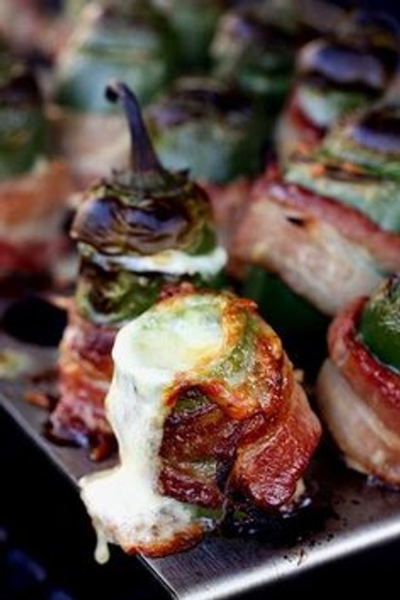 Grilled Bacon Wrapped Jalapeno Poppers with Vintage Cheddar - (Free Recipe below)