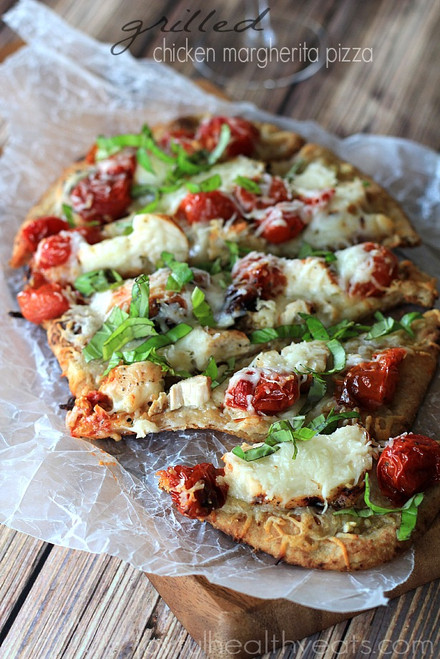 Grilled Chicken Margherita Naan Pizza - (Free Recipe below)