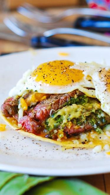 Spanish Style Flank Steak and Eggs w/ Guacamole - (Free Recipe below)