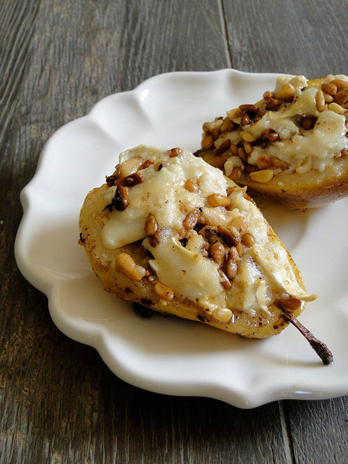 Roasted Pears with Goat Cheese and Pine Nuts - (Free Recipe below)