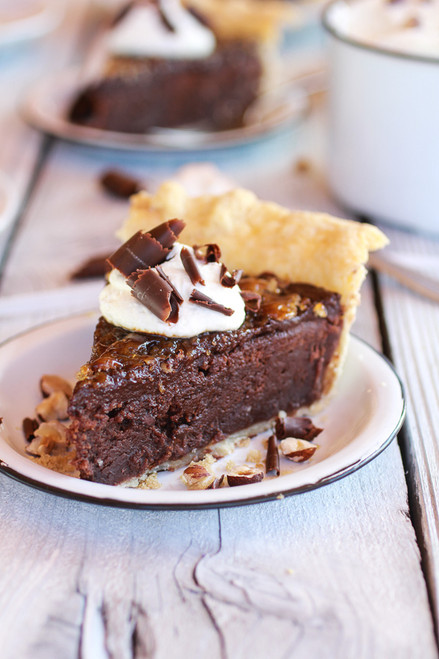 Fudge Browne and Chocolate Frangelico Crème Brûlée Pie w/ recipe below