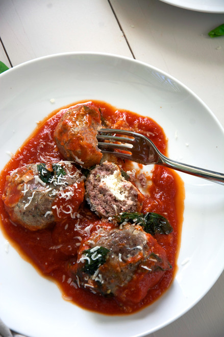 GOAT CHEESE STUFFED MEATBALLS WITH RUSTIC TOMATO SAUCE - (Free Recipe below)