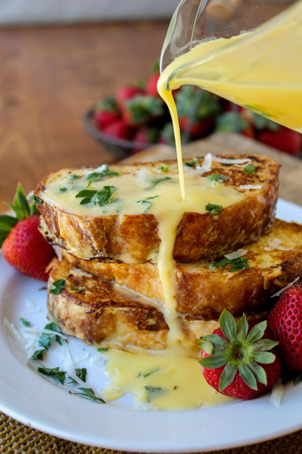 Savory Parmesan French Toast with Hollandaise Sauce - (Free Recipe below)