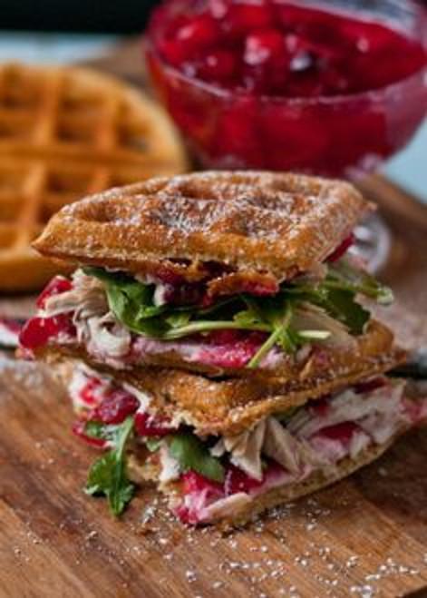 Waffled Cranberry Cream Cheese Turkey Sandwiches - (Free Recipe below)