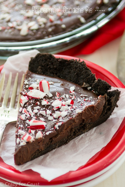 CHOCOLATE PEPPERMINT GANACHE PIE w/ recipe below
