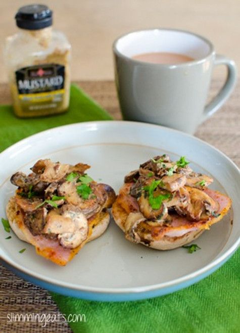 Garlic Mushrooms with Bacon English Muffins - (Free Recipe below)