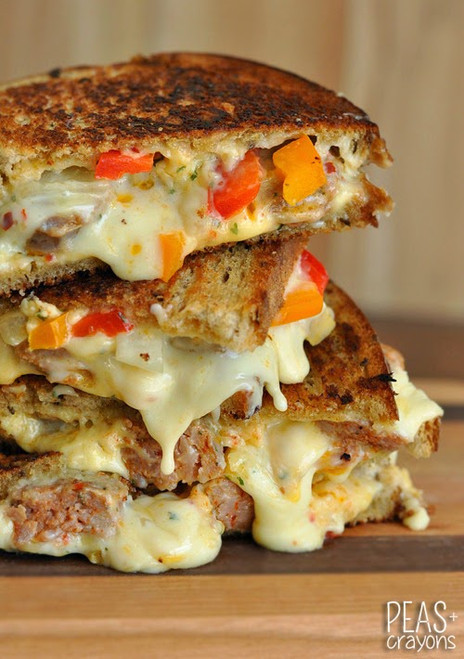 SAUSAGE AND PEPPER CHIPOTLE GRILLED CHEESE - (Free Recipe below)