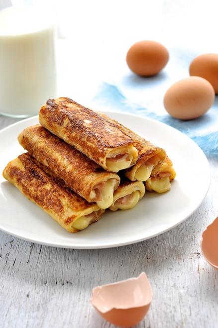 HAM & CHEESE FRENCH TOASTIE ROLL UPS - (Free Recipe below)